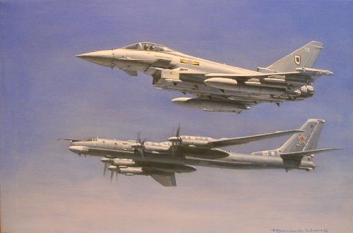 RAF Typhoon and Russian Bear